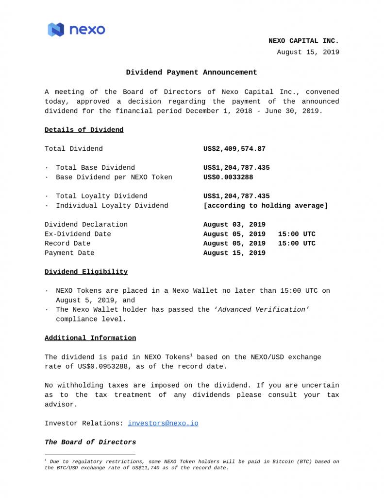 NEXO Token Holders Receive US,409,574.87 in Dividends